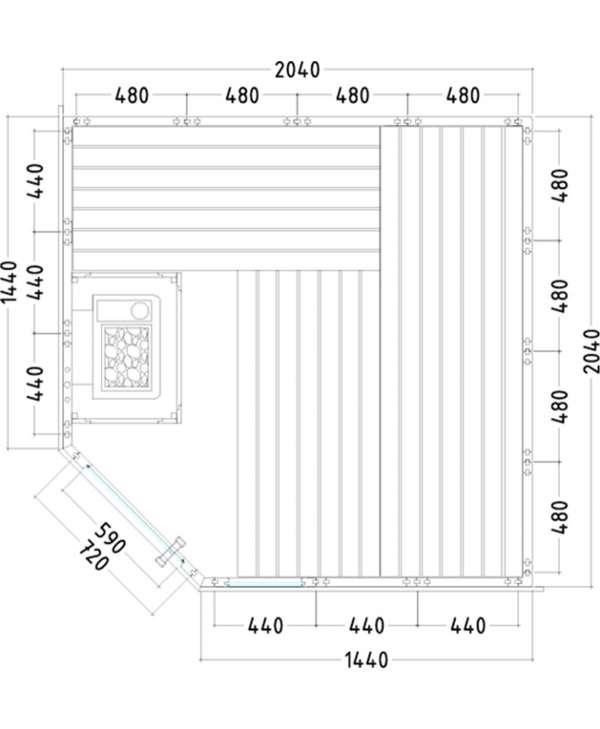 Sauna Komfort corner Grundriss